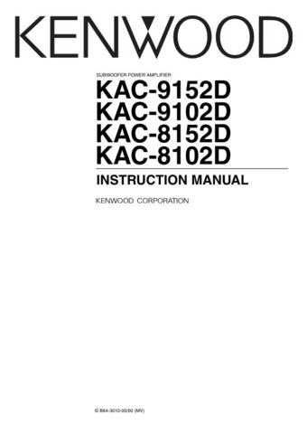 Kenwood KAC-9152D Operating Guide by download Mauritron #221379