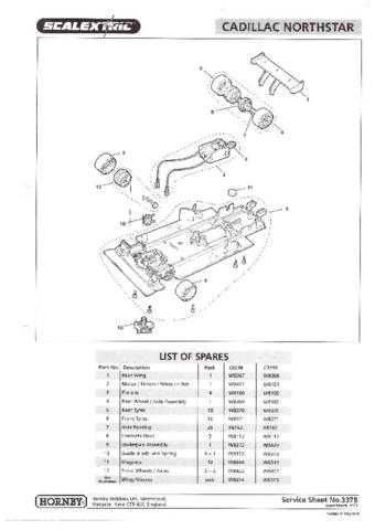 Scalextrix No.337B Cadillac Northstar Service Sheets by download Mauritron #206