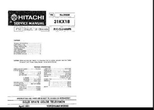Hitachi 31KX1B Service Manual Schematics by download Mauritron #205743