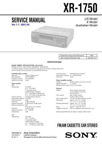 Sony XR-R100 Service Manual. by download Mauritron #246254