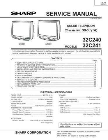Sharp 32C240-241 Service Manual by download Mauritron #207625