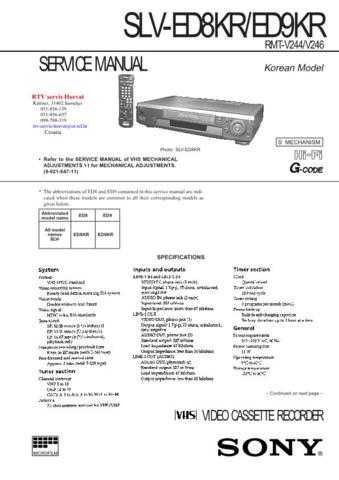 SONY SLVED8KR SLVED9KR Technical Info by download #104847