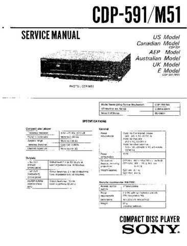 Sony CDP-590 Service Manual by download Mauritron #237238