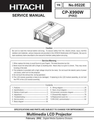 Hitachi CPX990W Service Manual Schematics by download Mauritron #205934
