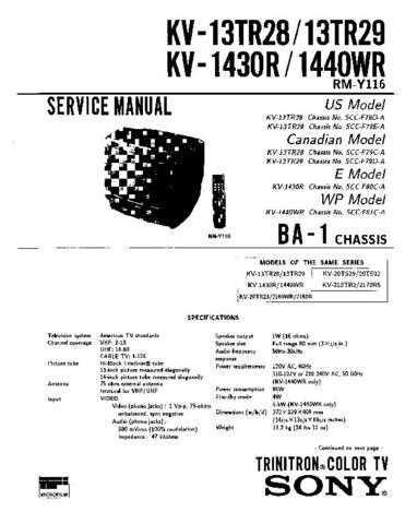 Sony KV-1430R Manual by download Mauritron #229526