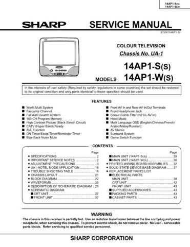 Sharp 14AP1S-W (1) Service Manual by download Mauritron #207333