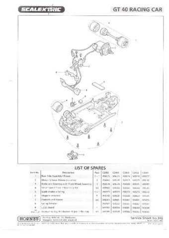 Scalextrix No.346 GT40 Racing Car Service Sheets by download Mauritron #206459