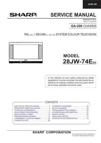 Sharp 28JW74E-EES Service Manual by download Mauritron #207562