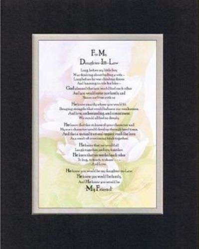 Poem for For Daughter-In-Law 11x14 BlackOnWhite DoubleBeveled Matting