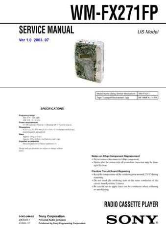 Sony WM-FX271FP Service Manual. by download Mauritron #245770
