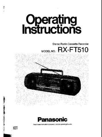 Panasonic RXFT510 Operating Instruction Book by download Mauritron #236373