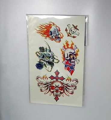THAI SCARY SKULL TEMPORARY TATTOOS BODY STICKER POPULAR ART