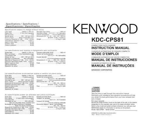 Kenwood KDC-CPS89 Operating Guide by download Mauritron #221925