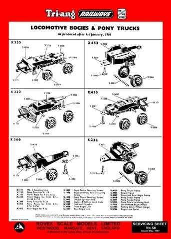 Triang Tri-ang No.005B Loco Bogies and Pony Trucks Service Sheets by download M