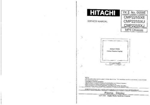 Hitachi CHASSIS-MP5 Service Manual by download Mauritron #263516