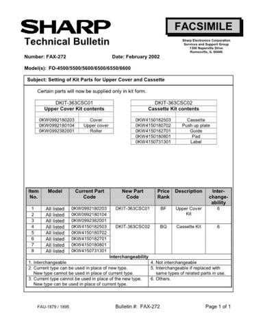 SHARP FAX257 TECHNICAL BULLETIN by download #104425