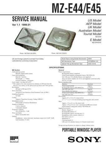 SONY MZE44 MZE45 Technical Info by download #104820