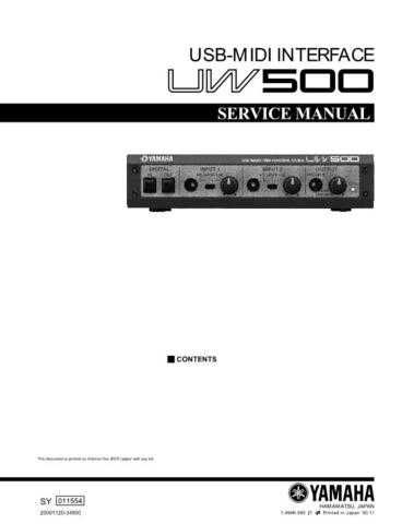 Yamaha UW500 SM E Information Manual by download Mauritron #259835