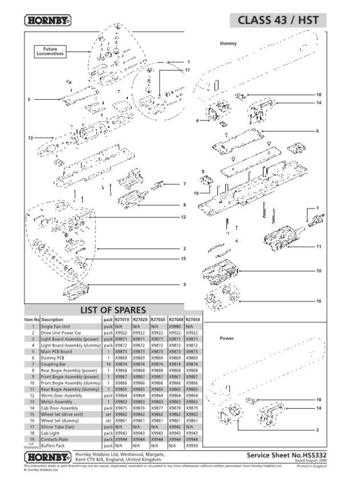 Hornby No.332 Class 43 HST Service Sheets by download Mauritron #207122