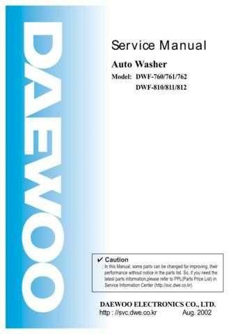 Daewoo DWF-760761762810811812 Manual by download Mauritron #226006