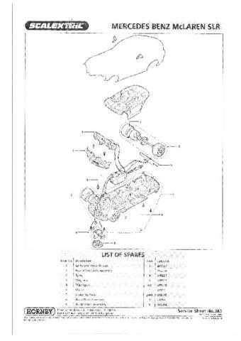 Scalextrix No.383 Mercedes Benz McLaren SLR Service Sheets by download Mauritro