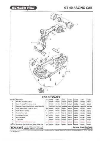 Scalextrix No.346B GT40 Racing Car Service Sheets by download Mauritron #206460
