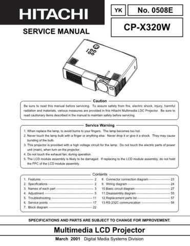 Hitachi CPX320W Service Manual Schematics by download Mauritron #205913