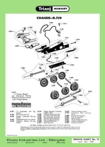 Triang Tri-ang No.073 Chassis R759 Service Sheets by download Mauritron #206274