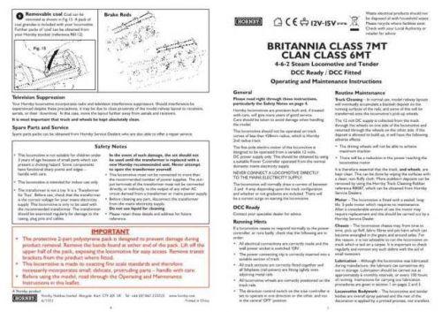 Hornby 4-6-2 Britannia Class 7MT Clan Class 6MT Maintenance Sheets by download