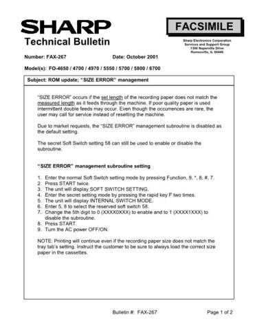 SHARP FAX256 TECHNICAL BULLETIN by download #104424