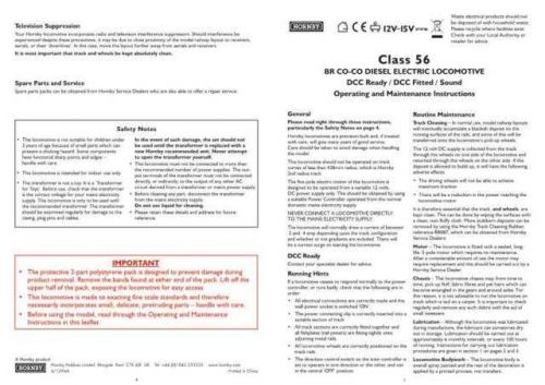 Hornby Class 56 BR CO CO Diesel (Sound) Maintenance Sheets by download Mauritro