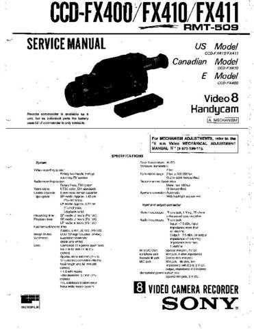 Sony CCD-FX400 Manual by download Mauritron #228967