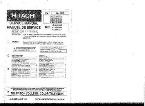 Hitachi 31DX11B Service Manual Schematics by download Mauritron #205738