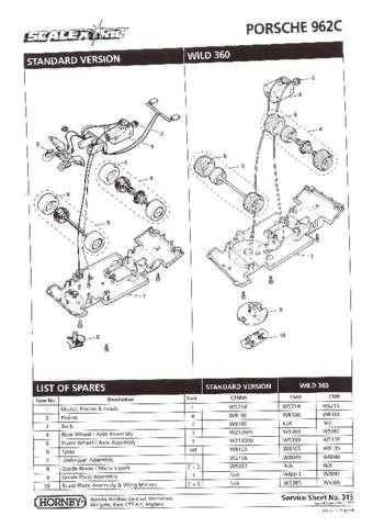 Scalextrix No.315 Porsche 962C Service Sheets by download Mauritron #206383
