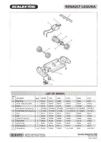 Scalextrix No.333 Renault Laguna Service Sheets by download Mauritron #206419