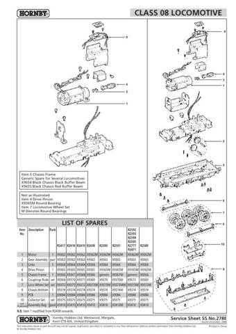 Hornby No.278E Class 08 Service Sheets by download Mauritron #207058