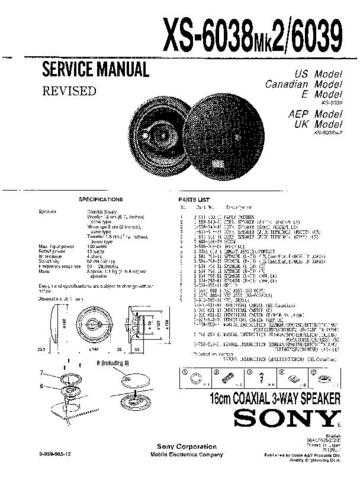 Sony XS-6038MK2-6039 Service Information by download Mauritron #238413