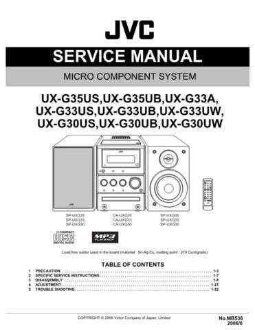 JVC UX-G33A Service Manual. On by download Mauritron #272736