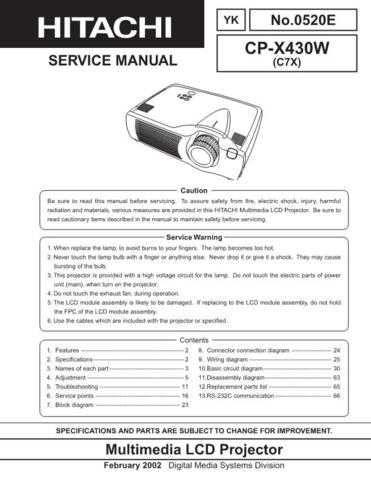 Hitachi CPX430W Service Manual Schematics by download Mauritron #205921
