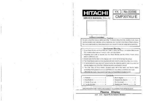 Hitachi CMP307X Service Manual Schematics by download Mauritron #205887