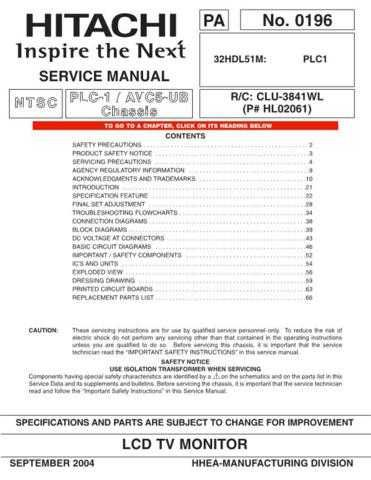 Hitachi 32HDL51 Service Manual Schematics by download Mauritron #205762