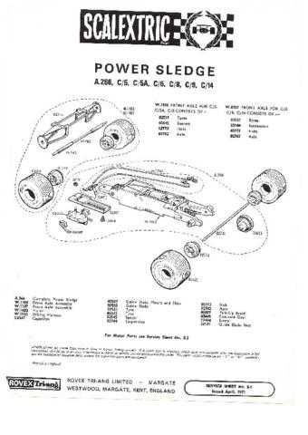 Scalextrix No.00A266 Power Sledge Service Sheets by download Mauritron #206290
