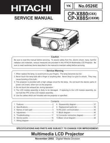Hitachi CPX880 885 Service Manual Schematics by download Mauritron #205928
