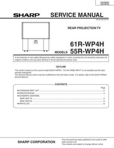 Sharp 55-61RWP4H Service Manual by download Mauritron #207862