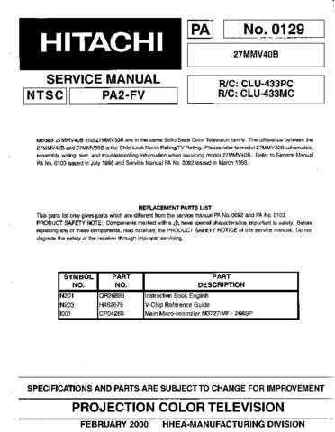 Hitachi 27MMV40B Service Manual Schematics by download Mauritron #205730