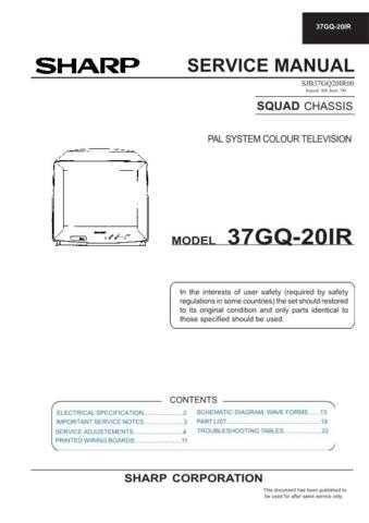 Sharp 37GQ20IR Service Manual by download Mauritron #207802