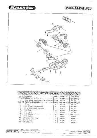 Scalextrix No.325B Williams FW20 Service Sheets by download Mauritron #206404