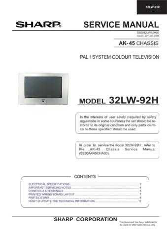 Sharp 32LW92H Service Manual by download Mauritron #207739