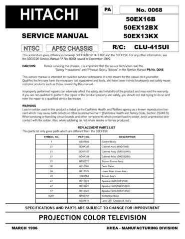 Hitachi 50EX12BX Service Manual Schematics by download Mauritron #205811