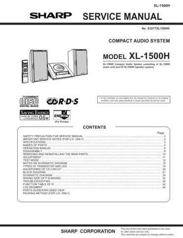 Sharp XL1500H (1) Service Manual by download Mauritron #207684